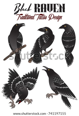 Black Crows Logo Tattoo Clipart Vector Design