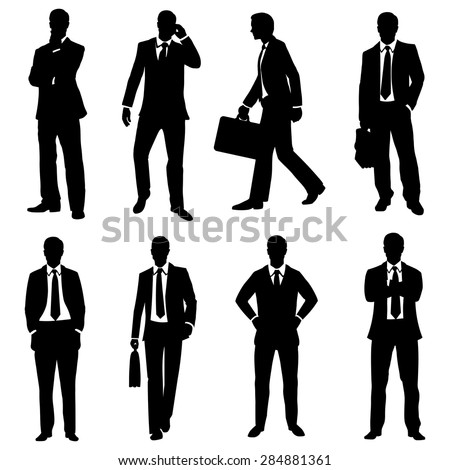 Vector Set of Black Silhouettes of Business People - stock vector