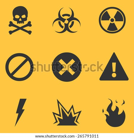 Vector Set of Black Warning Icons on Yellow Background - stock vector