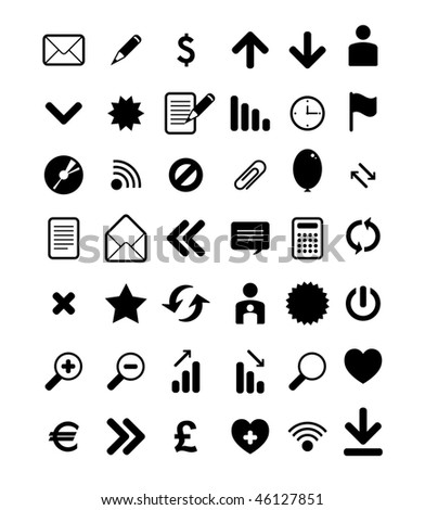 vector set of black web icons - stock vector
