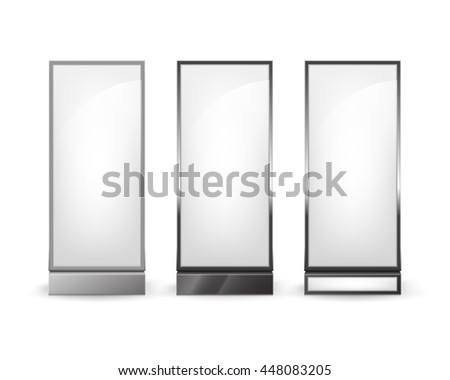 Vector Set of Black White Rectangular Poster Stands Pillars for Indoor Advertising Front View Isolated on Background - stock vector