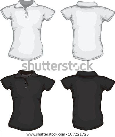 vector set of black white women's polo shirt template, back and front designs, check out my portfolio for different t-shirt templates - stock vector