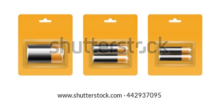 Vector Set of Black Yellow Golden Glossy Alkaline AA, AAA, C Batteries in Yellow Blister Packed for branding Close up Isolated on White Background - stock vector