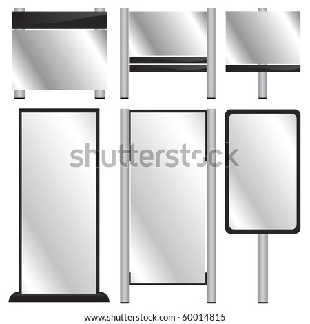 vector set of blank billboards - stock vector