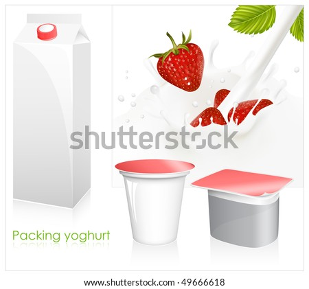 Vector set of blank milk and yoghurt packs. Red ripe  strawberry falling into the milky splash. - stock vector