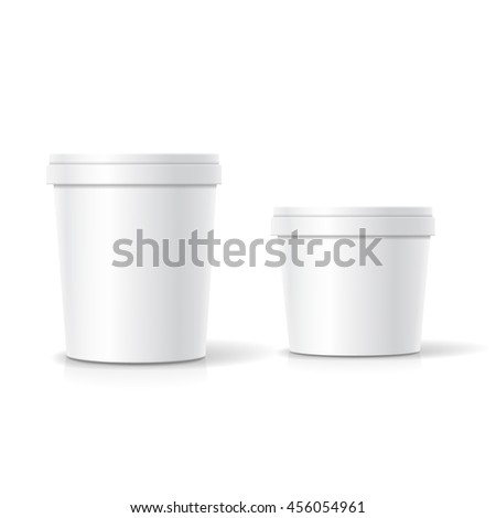 Vector set of blank plastic bucket container packaging isolated on white - stock vector