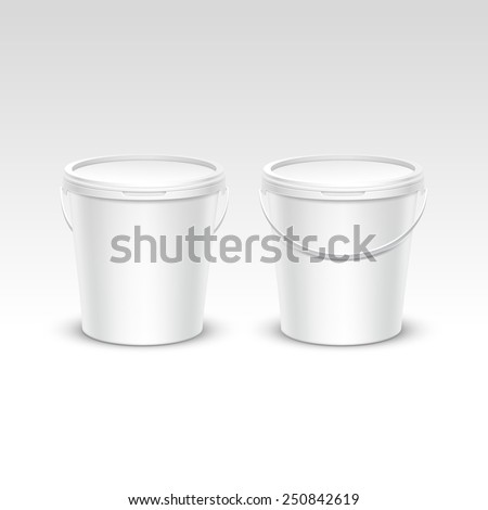 Vector Set of Blank Plastic Bucket Container Packaging Isolated on White Background - stock vector