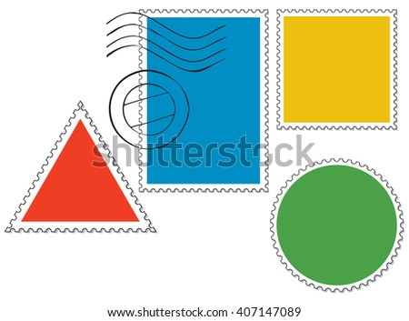 vector set of blank postage stamps  - stock vector