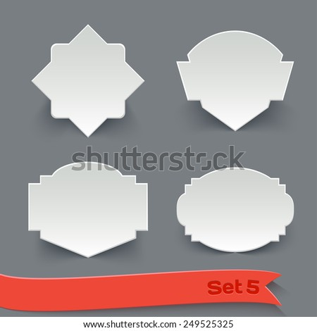 Vector Set of Blank White Paper Retro Labels. Vintage Design Elements Collection - stock vector