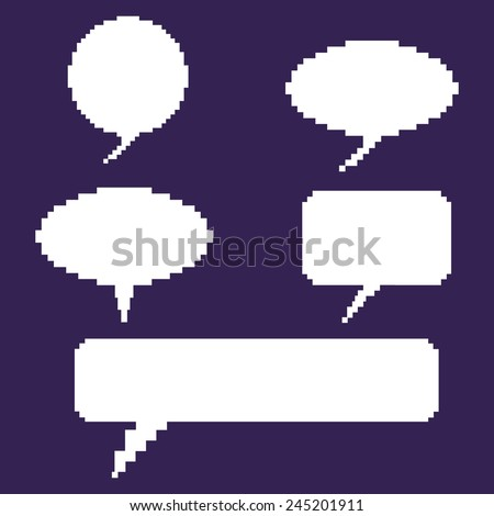 Vector Set of Blank White Pixel Bubbles - stock vector