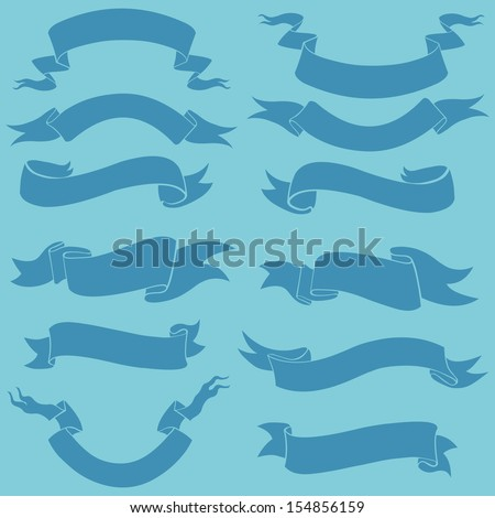 vector set of blue ribbons for your text - stock vector