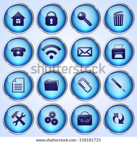 Vector Set of Blue Round Glass Buttons with Office Theme on White Background