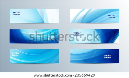 vector set of blue wavy banners - stock vector