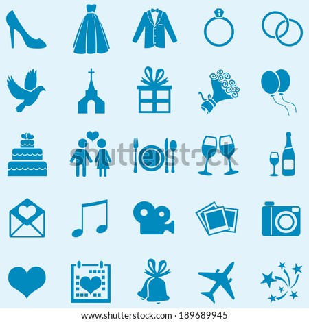 Vector Set of 25 Blue  Wedding Icons - stock vector