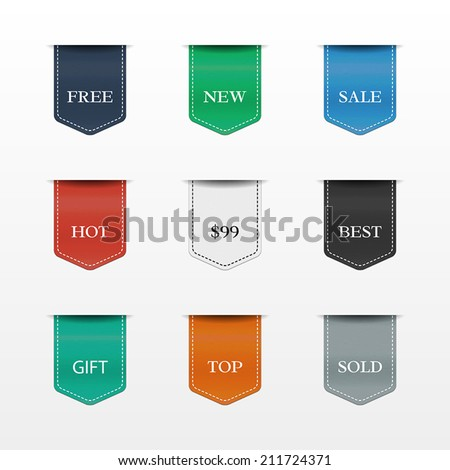 Vector set of bookmarks. Collection of stickers, price tags. Sale, free, new, best, top. - stock vector