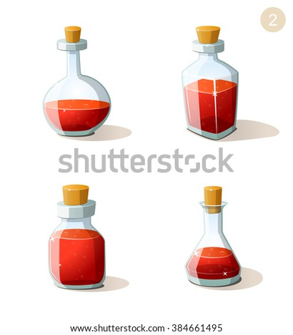 Vector set of bottles with red life potion. Game ui elements for mobile casual games. Parts of UI for 2d and 3d video games. Game creation set. - stock vector