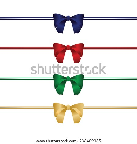 Vector set of bow and ribbon isolated on white background. Illustration gift bow for your spacial occasion. - stock vector