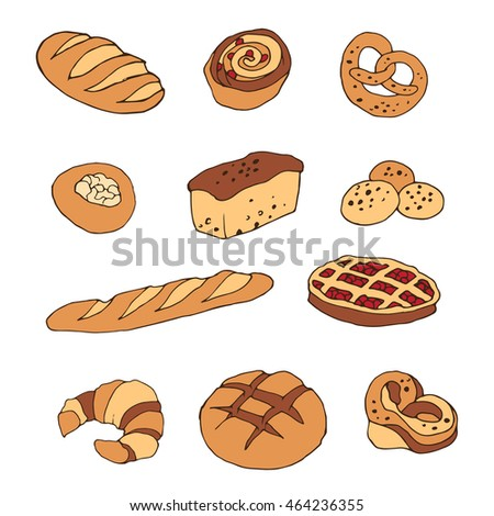 Vector set of bread and bakery products: pie, pretzel, puncake, muffin , loaf , croissant , cake. Vector illustration in cartoon style. Hand drawn design elements Isolated on white background.