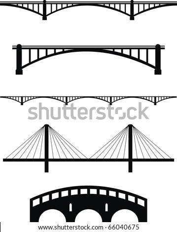 Vector  set of bridge black silhouettes - isolated  illustration on white background - stock vector