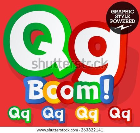 Vector set of bright colorful alphabet for children. Playful sticker font. Letter Q - stock vector