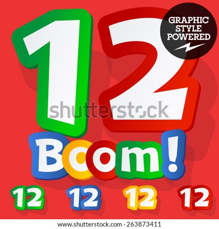 Vector set of bright colorful alphabet for children. Playful sticker font. Numbers 1 2 - stock vector