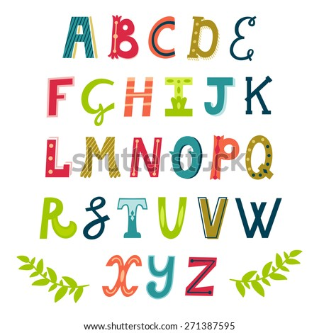 Vector set of bright different letters. Stylish abc. Retro hand drawing font. - stock vector