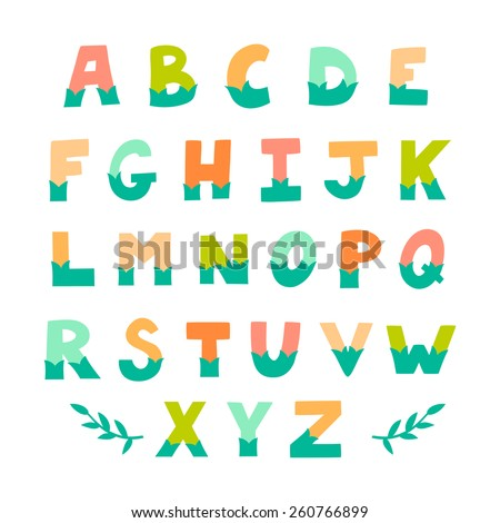 Vector set of bright different letters. Stylish abc. Retro hand drawing font. Typographic design. - stock vector