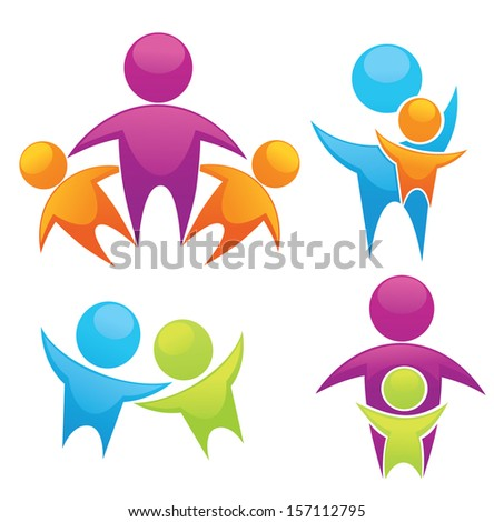 vector set of bright people, family, friends and happiness - stock vector