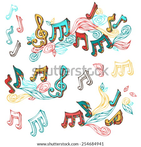 Vector set of  bright retro music page decorations. Page dividers, vintage design elements and page decoration with music notes and treble clefs. Isolated on white background. - stock vector