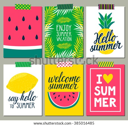 And Sunshade Eps 10 Design Trendy Summer Tropical Leaves Vector