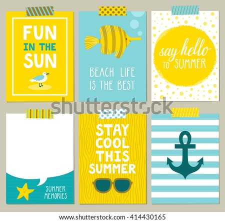 Vector set of bright summer cards. Beautiful summer posters with seagull, anchor, fish, starfish, glasses, sun and hand written text. Journal cards.