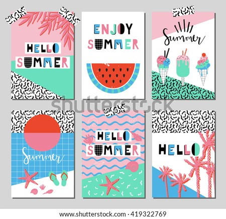 Vector set of bright summer cards. Beautiful summer posters with watermelon, ice cream, hello summer and hand written text. Journal cards. - stock vector