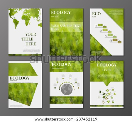 Vector set of brochures and flyers in polygonal style concerning to ecology themes with infographic elements