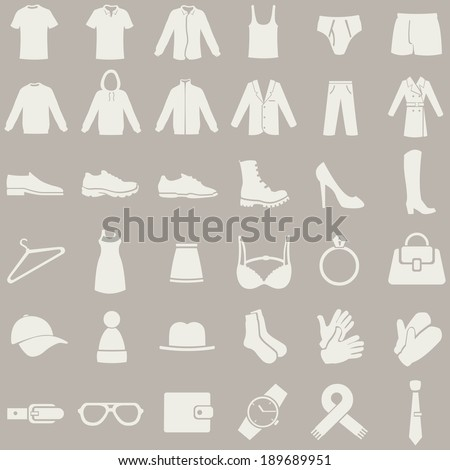 Vector Set of Brown Clothes Icons - stock vector