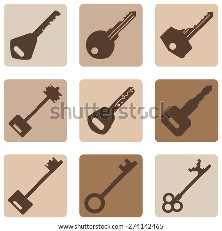 Vector Set of Brown Keys Icons. Modern and Antique Keys. Types of Keys