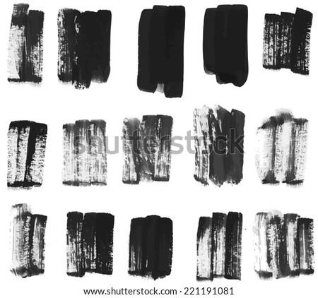 vector set of brush strokes - stock vector
