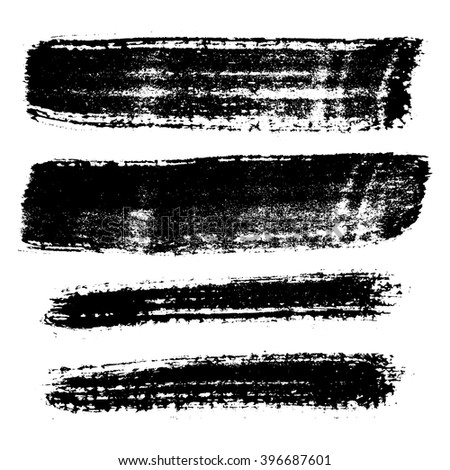 Vector set of brush strokes silhouette that were made with a dry brush and watercolor paint. Stain could be used for banners or backgrounds for titles or text.