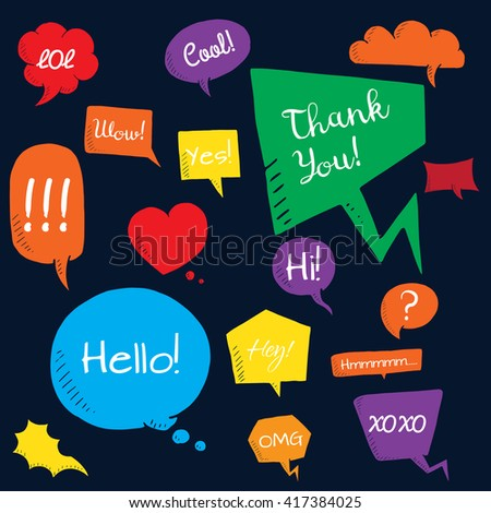 Vector set of bubbles on black background, doodle bubbles with text hi, hello, thank you