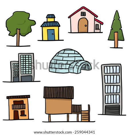 vector set of building and tree - stock vector