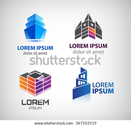 Vector set of building, houses, city, town logos, icons isolated. Colorful, 3d