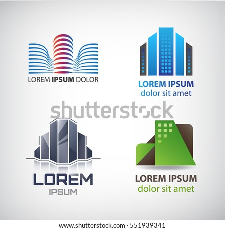 Vector set of building logos, company icons. City scape, office building.