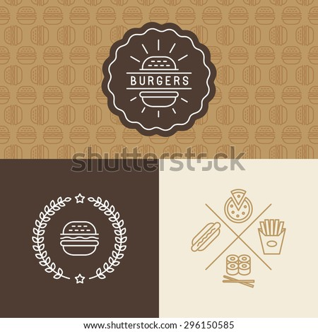 Vector set of burger package design elements - logo, seamless pattern and linear icons - fast and tasty food - stock vector