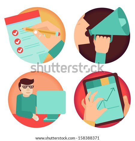 Vector set of business concepts - advertising, agreement, development - in flat retro style - stock vector