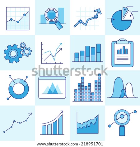 Vector set of business graphs and diagrams in outline style - investment and growth concept - stock vector