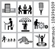 vector set of business, office, organization icon set - stock vector