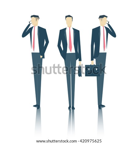 vector set of business people standing face and side with a briefcase and talking on a cell phone, business vector illustration - stock vector