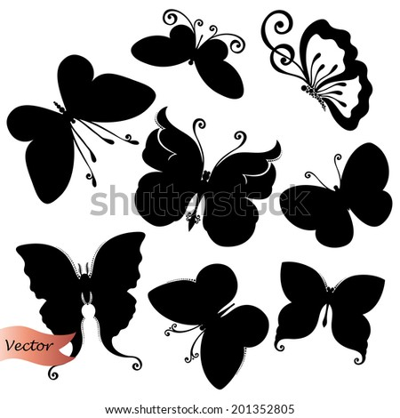 Vector Set of Butterflies. Stencils Isolated on White Background - stock vector