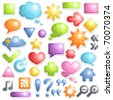 Vector set of buttons, speech bubbles and different symbols. - stock vector