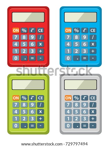 Vector Set Calculator Icons Isolated On Stock Photo (Photo, Vector ...