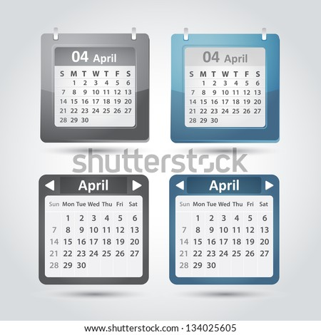 Vector set of calendar templates for application. April, 2013 year. - stock vector